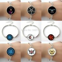 Free Shipping Fallen Angel Picture Glass Dome Charm Bangle Bracelets different models chose Fashion Satan Men Bracelet Jewelry