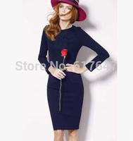 2015Fashion Dress Women European Style Slim Bodycon long sleeve Dresses Vestidos Dresses package hip Women's Dress Free shipping