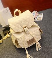 Faux leather string tassel pu backpacks  women backpack school bags fashion travel bag