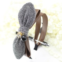Wholesale 12pcs Womens Wide Leather Bows Headband Shinning Ears Hairband with Pearl Rhinestones Fashion Ladies Hair Accessory