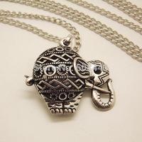 NQ019 Antique Silver Hollow elephant Pendant Long Chain Vintage Necklace Jewelry bijouterie for Women Girls