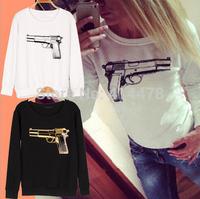 Hot sale women 2015 clothes pullover gun sprint sweatshirt  girl fashion hoodies sweater  free shipping