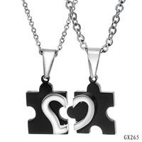 2014 New Fashion Accessories Jewelry Puzzle Half Heart Lovers Titanium Steel Couple Pendant Necklaces