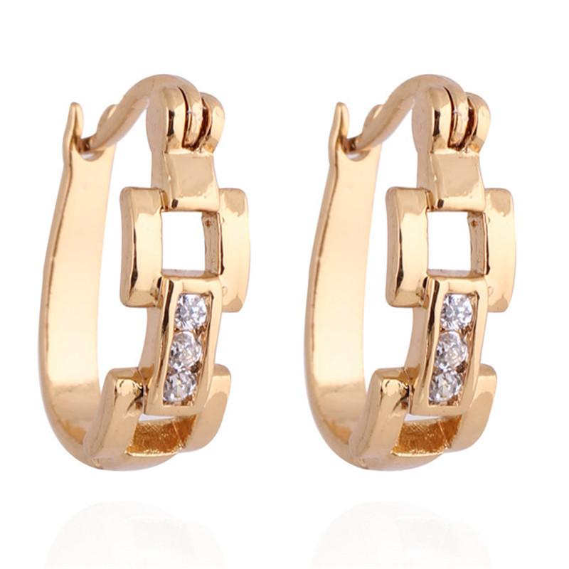 2014 New Arrival Fashion 18K Gold Plated Geometric Shape Hoop Earrings Ladies Zirconia Jewellery Earing Free Shipping ER143(China (Mainland))