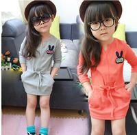 New 2015 spring girls' dresses children's clothes children's sport  hip package dress baby girl,D106