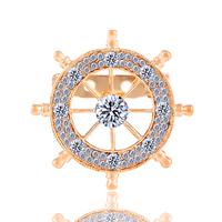 New Fashion Charm Metal geometric Shiny rhinestones Brooch jewelry Boat rudder Crystal Banquet brooch accessories 2015 M12