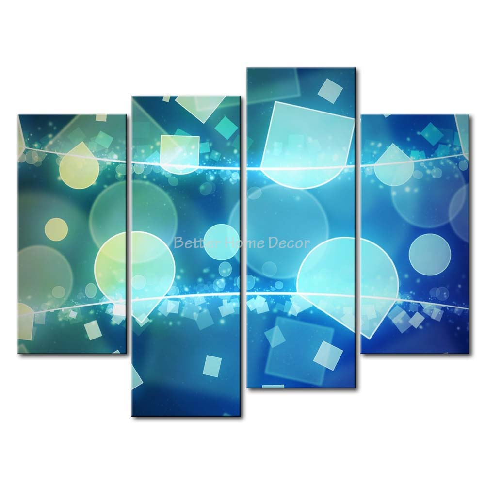 3 Piece Blue Wall Art Painting Shapes Print On Canvas The Picture Abstract 4 5 Pictures Oil For Home Decoration Prints Decor(China (Mainland))