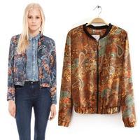 2015 new women's spring jackets printing short coat collar outwear B-1126