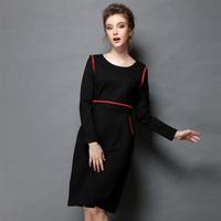 High Quality 2014 New Women's Winter Dress Back Fashion Embroidery Slim Casual Dress Full Sleeve Plus Size Eleagnt Dress