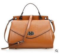 motorcycle bag woman genuine leather cowhide Crocodile women handbag hot sale messenger bag trend 2014 fashion women's handbag