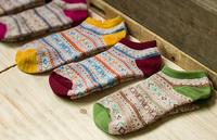 2015 New Fashion Print Slipper Socks Vintage Casual Dress Women's Meias 5 Pairs/lot Wholesale