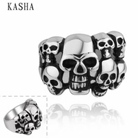 2014 Stylish New 316L Stainless Steel Men's Skull Rings Punk Vintage Party Skeleton Jewelry 316L stainless steel punk ring