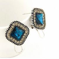 Fashion Retro Silver Square Stud Earring Jewerly for Women Statement CZ Diamond Brincos Grandes Pendientes Mujer Bijuterias