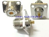 10pcs UHF Female SO239 Jack 4 holes flange mount solder RF coax connector adapter 25mm