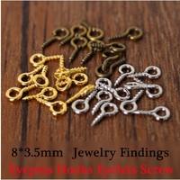 100pcs Small Tiny Mini Eye Pins Eyepins Hooks Eyelets Screw Threaded Silver Clasps Hooks Jewelry Findings 8*3.5mm