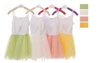 2015 spring summer Korean Model Girls Little Princess Bubble Gauze Dress Kids vest Cute  dress free shipping,D108