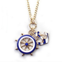 N317  trendy Navy anchor pendant long necklace sweater chain women jewelry accessories LC30