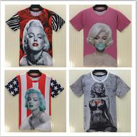 2015 New summer fashion marilyn monroe print 3D women/ girl t shirt plus size women's clothing free shipping