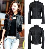 Vintage Women Black Slim Biker Motorcycle Soft Leather Zipper Jacket Coat Short Plus Size