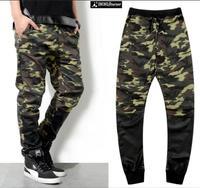 2015 Fashion Hanging Crotch Harem Pants Men's Korean Cool Big Camouflage Hip Hop Jogger Pants Trousers