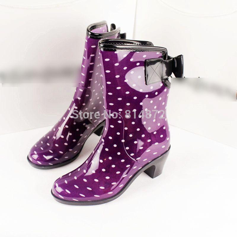 Fashion Rubber Shoes Women Boots Rain Boots Flat Shoes Rainboots ...