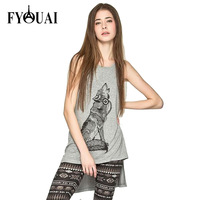 FYOUAI 2015 New Fashion Long Style Women T shirt Irregular Sleeveless Print T shirt Ropa Mujer Women Clothing