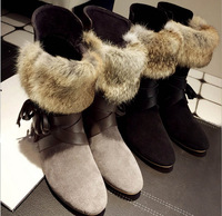 2014 new Winter Snow Boots Fashion sheep fur Slip-resistant Short Women Cotton-padded Shoes Ankle Boots leather boots for women
