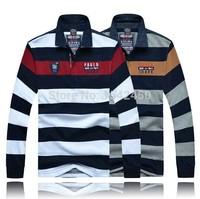 2014 Winter Paul Men's long-sleeved T shirt lapel striped shirt male shark cotton T -shirts wholesale spot SHA-MH633