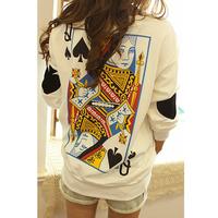 New 2015 autumn zipper poker o-neck pullover sweatshirt female WST14 factory wholesale Free Shipping