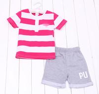 Retail new 2015 summer girls Rose striped clothing set Short sleeve t-shirt + shorts 2pcs suits kids clothes sets
