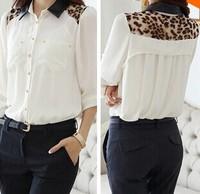 New ladies PU leather stitching long sleeve shirt loose Leopard print chiffon shirt Femininas blusas