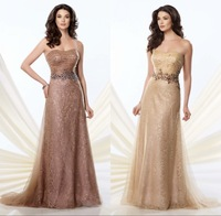Prom Gown Sexy Sweetheart Neckline vestido de la madre Lace Decoration With Beading Sash Champagne Mother Of the Bride Dress