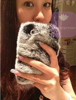 NEW rabbit hair fur plush leather Phone Case for iphone 5s 5c 5 4s 4 5g 4g samsung galaxy S4 note 2 note 3 Christmas gift