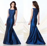 Gorgeous Scoop Neckline Appliques Chinese Floor Length vestido de la madre Mother Of the Bride Dress Navy Blue