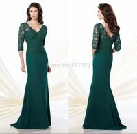 Latest Fashion Design V-Neck Long Sleeve Dark Green vestido de la madre Long Mother Of the Bride Tropical Dresses