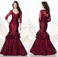 New Fashion Wholesales V-Neck Long Sleeve Appliques Mermaid Style vestido de la madre Burgundy Mother Of the Bride Dress