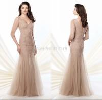 Fashion Tulle Design V-Neck Long Sleeve Complicated Beading Crystals vestido de la madre Petite Mother Of the Bride Dresses 2014