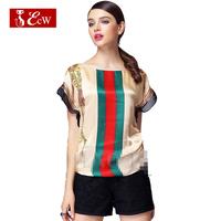 ECW Fashion Women T shirt European Style Color Strip Casual T shirt Spring Summer Roupas Femininas Tops