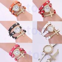 1pc New Women Ladies Faux Leather Rhinestone Cross Watch Retro Bracelet Watches