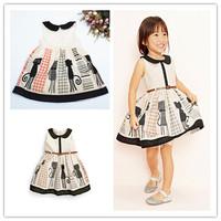Retail 1 pcs  2015 New arrival summer girls dresses with cat design brand print girls dress with belt  kids vestidos WW12280108