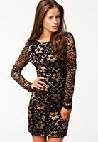 autumn 2015 vestido de festa renda curto feminino Women's Classical Beauty V Back Two Tone Lace Long Sleeves Vintage Dress