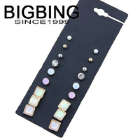 BigBing Fashion Fashion 9 crystal studs post earring  Charm copper earring nickel free B584