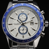new fashion 2014 calendar curren full steel stainless clock blue cool stylish men boy wrist quartz watch