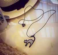 Promotion! Wholesale! Fashion lady women necklaces & pendants full rhinestones cute cat black rope long necklaces SN590