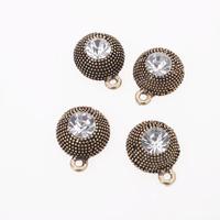 Wholesale 60pcs/lot New Fashion Round Bottom Rhinestone Bronze Alloy Charms Fit Jewelry Necklace Making Free Shipping 147443
