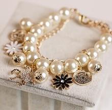 Pearl  female bracelets/new korean handmade esmaltes flower horse perola hand chain/pulseras mujer/pulseiras femininas/charm