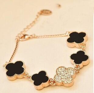 Black gold plated clover flower female bracelet korean luxury strass hand chain pulseras mujer pulseiras femininas