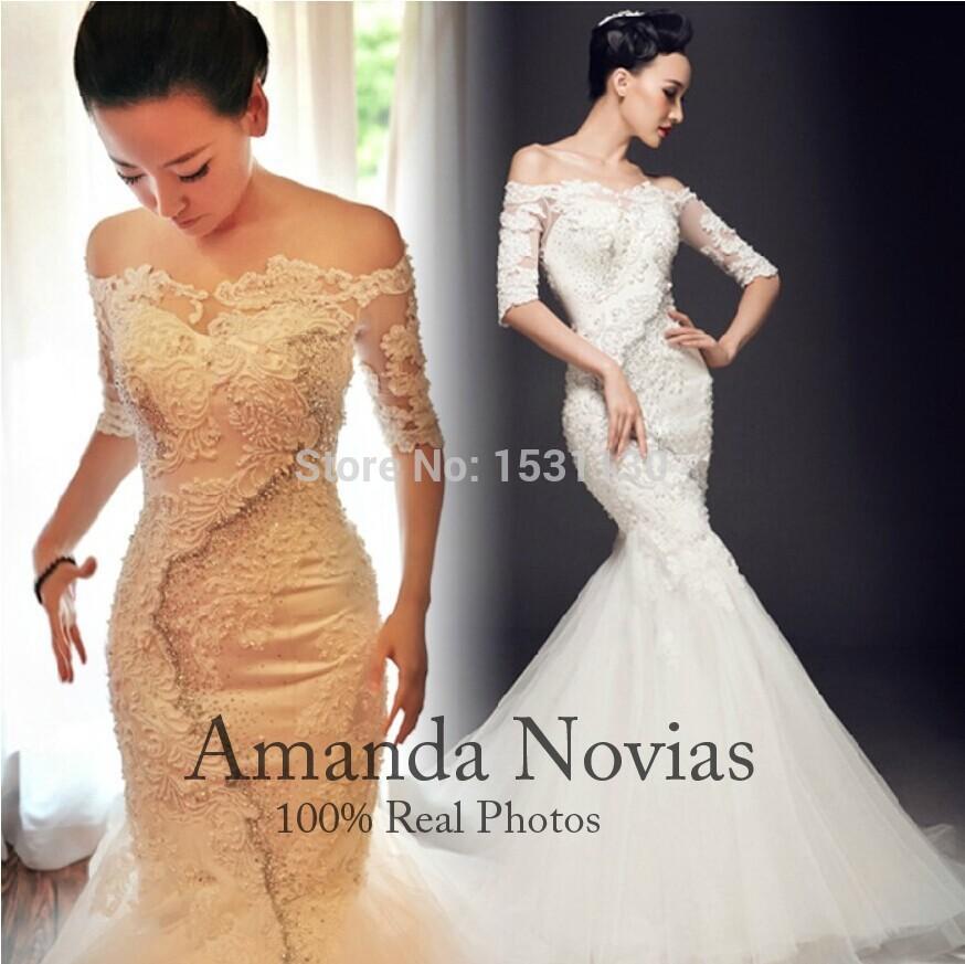 2015 New Hot Sale modelo luxo pérolas completa sereia vestidos de casamento Real fotos personalizado todo o tamanho grátis frete(China (Mainland))
