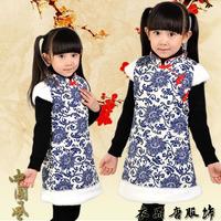 f fat children cheongsam autumn and winter with new year cotton vest vest dress princess princess  outfit children dress