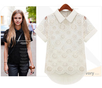 New Arrivals 2015 Women's Clothing Lace Blouses Chiffon Solid Short-Sleeved Openwork Turn-Down Collar Women Clothes Tops S-XL